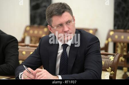 Moscow, Russia. 27th Feb, 2019. Russian Energy Minister Alexander Novak during a meeting chaired by President Vladimir Putin at the Kremlin February 27, 2019 in Moscow, Russia. Credit: Planetpix/Alamy Live News - Stock Image