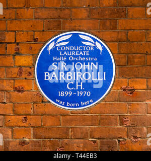 Blue plaque commemorating the birthplace of Sir John Barbirolli in Southampton Row. - Stock Image