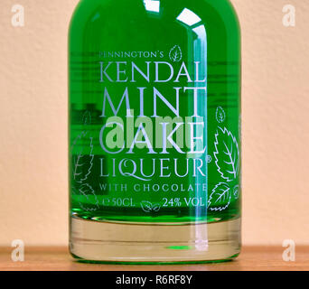 Detail of Bottle of Pennington's Kendal Mint Cake Liqueur with chocolate. 50 cl. 24% vol. England, United Kingdom, Europe. - Stock Image