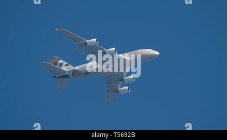 A6-APF Airbus A380-861 of Etihad Airways leaving Heathrow Airport on 21st April, 2019 for Abu Dhabi. - Stock Image
