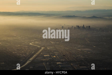 Aerial view of downtown Los Angeles at sunset. - Stock Image