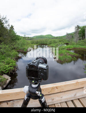 Canon 5Ds DSLR on an RRS tripod sitting on a logging bridge over the Kunjamuk River in the Adirondack Mountains, NY, USA - Stock Image