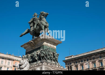 Equestrian monument to Vittorio Emanuele II, first King of Italy, Piazza del Duomo, Milan, Italy - Stock Image