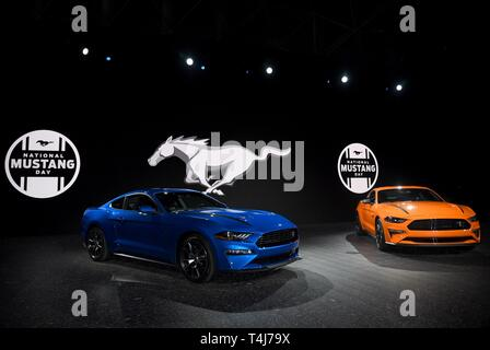 New York, NY, USA. 17th Apr, 2019. Ford Mustang in attendance for New York International Auto Show - WED, Jacob K. Javits Convention Center, New York, NY April 17, 2019. Credit: Kristin Callahan/Everett Collection/Alamy Live News - Stock Image