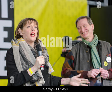 London, UK. 23rd Mar, 2019. Jess Phillips Labour MP, with Dominic Grieve Conservative MP, speaking at the People's Vote March and rally, 'Put it to the People.' Credit: Prixpics/Alamy Live News - Stock Image