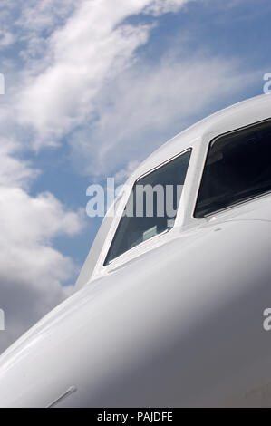 cockpit windows on the Dassault Falcon 2000LX parked in the static-display at the Paris AirShow 2007 Salon-du-Bourget - Stock Image