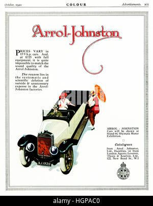 Arrol-Johnston Cars, 1920 advert for the motor car made in Scotland by the company founded in 1896 - Stock Image