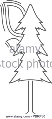 linear Icon of a burning tree. isolated vector illustration - Stock Image