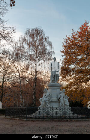 The Goethe Monument in the Berlin Tiergarten commemorates German writer Johann Wolfgang von Goethe. It was sculpted by Fritz Schaper in 1880. - Stock Image