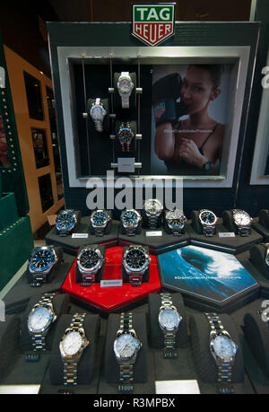 Jewellers Window Display of Tag Heuer Watches Tagheuer - Stock Image