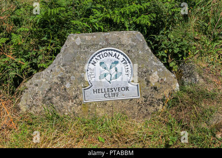 A National Trust Omega sign saying Hellesveor Cliff, near St. Ives, Cornwall, England, UK (photo taken from public footpath) - Stock Image