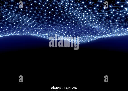 Abstract Digital Background of Science or Blockchain. Geometry Virtual Grid Mesh. Molecules or blocks are connected. 3D Render Illustration - Stock Image