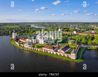 Aerial view of Cyril-Belozersky Monastery used to be the largest monastery and the strongest fortress in Northern Russia. Kirillov, Vologda Oblast - Stock Image