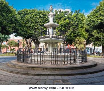 Fountain in Plaza del Adelantado (Governor's Square), La Laguna, Tenerife, Canary Islands - Stock Image