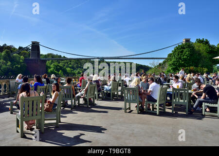 View of Bristol suspension bridge from terrace bar at White Lion pub in Avon Gorge Hotel, UK - Stock Image