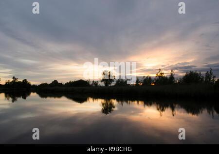 sunset on the River Yare, Norfolk Broads, UK. June - Stock Image