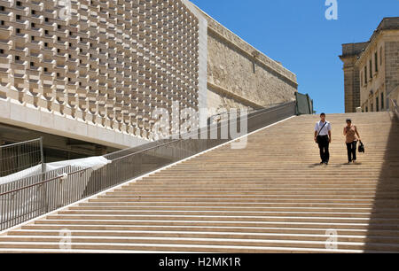 Steps adjacent to City Gate (5th Gate), Valletta, Malta. Built 2011-14. Designed by Renzo Piano.Parliament building - Stock Image
