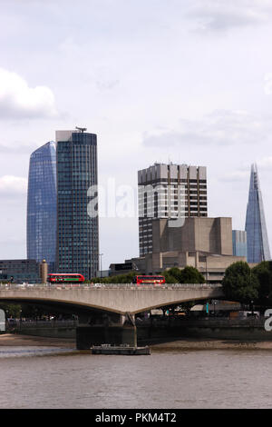 Waterloo Bridge and London Skyline including The Shard and Doon Street Tower August 2018 - Stock Image