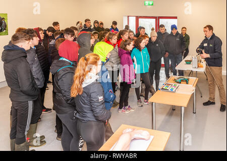 Clonakilty, West Cork, Ireland. 8th March, 2019. Visitors attending the Darrara Agricultural College Open Day listened intently to College teacher James Daunt who spoke on various farming practices. Credit: Andy Gibson/Alamy Live News. - Stock Image
