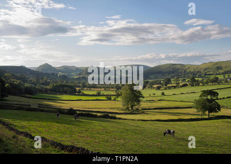 Landscape of the Upper Dove Dale in the Peak District Staffordshire / Derbyshire, England UK - Stock Image