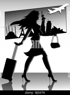 Travel girl silhouette - Stock Image