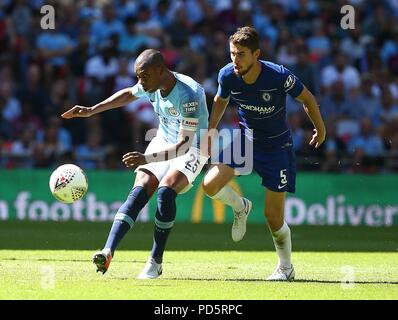 Fernandinho of Manchester City and Frello Filho of Chelsea during the FA Community Shield match between Chelsea and Manchester City at Wembley Stadium in London. 05 Aug 2018 - Stock Image