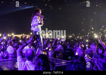 German pop singer Andrea Berg live at the 19th Schlager Night in Lucerne, Switzerland - Stock Image