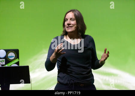 Isla Myers-Smith talking about how the Arctic tundra is changing, and what this will mean for the whole planet, on the Earth Stage, at New Scientist Live - Stock Image