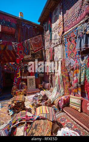 Hand made carpets in Cappadocia, Turkey - Stock Image