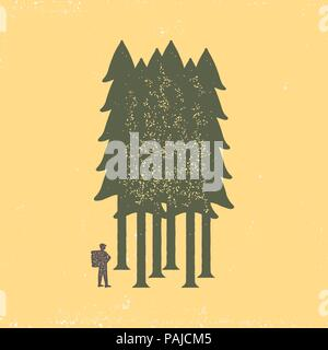 Vintage poster of the tourist-traveler in the forest on a yellow background. Grunge badge, typogrphic symbol suitable for T-shirts or print. Isolated  - Stock Image