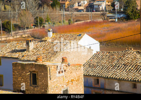 Rooftops and wicker field. Villaconejos de Trabaque, Cuenca province, Castilla La Mancha, Spain. - Stock Image