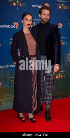 London, United Kingdom. 16 January 2019.  Heida Reed and Sam Ritzenberg arrive for the red carpet premiere of Cirque Du Soleil's 'Totem' held at The Royal Albert Hall. Credit: Peter Manning/Alamy Live News - Stock Image