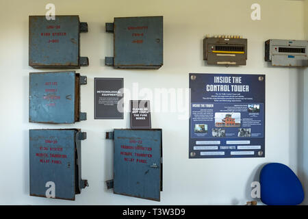 Display inside the Control Tower at Greenham Common, formally an American airbase with nuclear weapons, near Newbury, Berkshire, UK - Stock Image