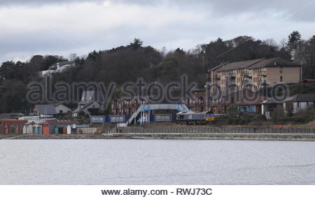 Elevated view of freight train passing Broughty Ferry Scotland  March 2019 - Stock Image