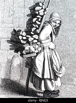 A woodcut engraving depicting a man carrying a load of firewood home. - Stock Image