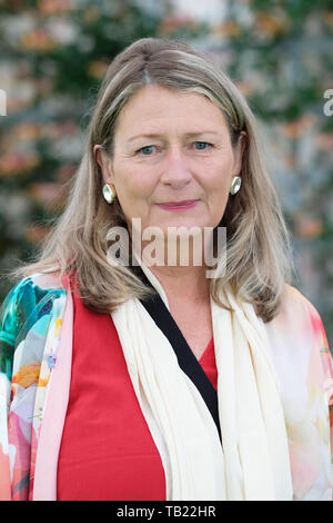 Hay Festival, Hay on Wye, Powys, Wales, UK - Wednesday 29th May 2019 - Steinunn Siguroardottir an Icelandic novelist at the Hay Festival to talk about her book Heioa - A Shepherd at the Edge of the World which features Heioa Asgeirsdottir an Icelandic sheep farmer and former model. The eleven day Festival features over 800 events - the Hay Festival continues to Sunday 2nd June. Credit: Steven May/Alamy Live News - Stock Image