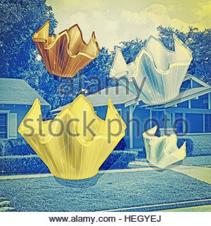 Vintage Glass Handkerchief Vases mid century fifties collectibles on residential background - Stock Image