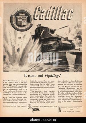 1943 U.S. Magazine Cadillac-Built Sherman Tank Body Advert - Stock Image