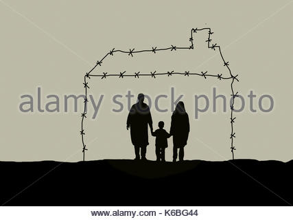 Family inside of barbed wire house - Stock Image