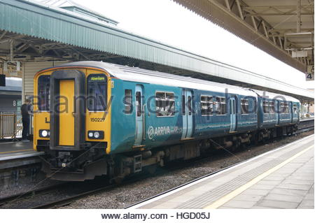 Arriva Trains Wales Class 150 sits in Cardiff Central Station. - Stock Image