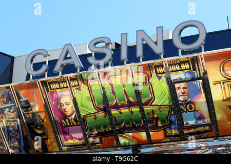 Cannes, France - May 14, 2019: Casino Barriere Cannes Le Croisette at the Palais Des Festivals Et Des Congres Building in the City Center of Cannes, F - Stock Image