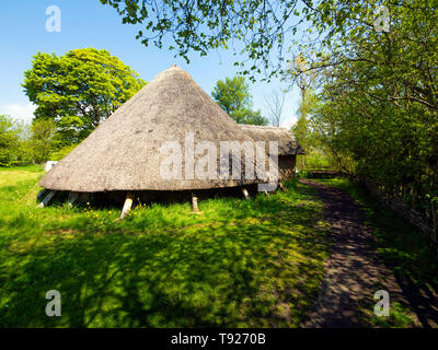 Full scale replica of an Iron Age dwelling house from circa 100BC  in the  Ryedale Folk Museum in Hutton le Hole North Yorkshire England UK - Stock Image