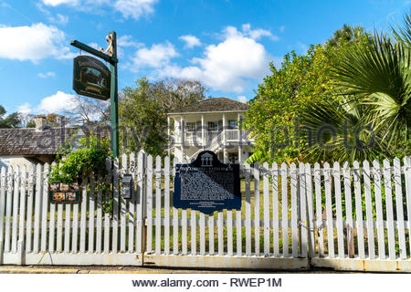 The Ximinez-Fatio House on Aviles Street in the historic district of Saint Augustine, Florida USA - Stock Image