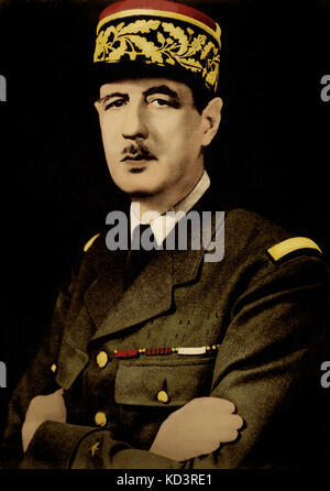 Charles de Gaulle, portrait.  French general and statesman, 22 November 1890 – 9 November 1970. - Stock Image