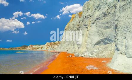 Xi Beach, Kefalonia Island, Greece. Beautiful view of Xi Beach, a beach with red sand in Cephalonia, Ionian Sea. - Stock Image