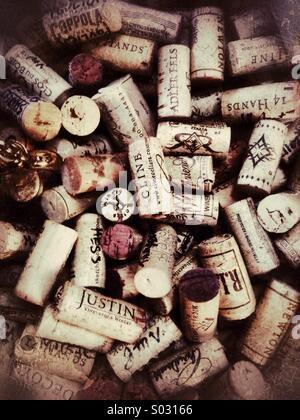 Corks from wine bottles - Stock Image