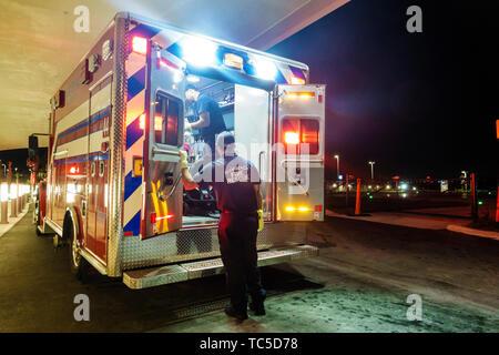 Miami Beach Florida Mount Mt. Sinai Medical Center centre hospital Fire Rescue medical emergency room ambulance vehicle EMT - Stock Image