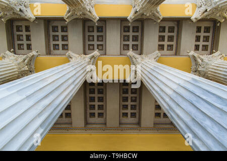 Athens, Greece - April 28 2019: The Zappeion Hall entrance columns and ceiling - Stock Image