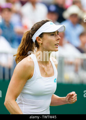 Eastbourne, UK. 23rd June 2019.  Alize Cornet of France reacts after winning a point against Heather Watson of Great Britain during their first round match at the Nature Valley International tennis tournament held at Devonshire Park in Eastbourne . Credit : Simon Dack / TPI / Alamy Live News - Stock Image