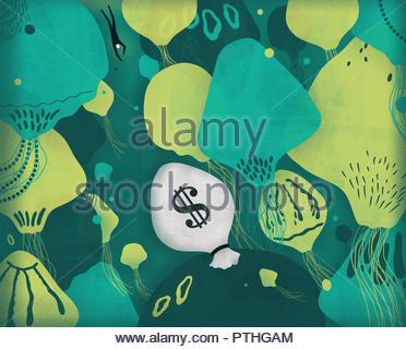 Man swimming through jellyfish towards dollar money bag in sea - Stock Image